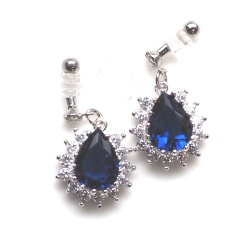 "<img src=""comfortable-bridal-dangle-navy-blue-cz-crystal-invisible-clip-on-earrings-miyabigrace.jpg"" alt=""pierced look and comfortable Comfortable and pierced look dangle silver bridal wedding navy blue sapphire cz cubic zirconia crystal teardrop invisible clip on earrings MiyabiGrace 夾耳環 ノンホールピアス""/>"