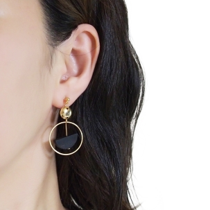 Comfortable pierced look black half circle gold hoop dangle wood Invisible clip on earrings Miyabi Grace 1.jpg