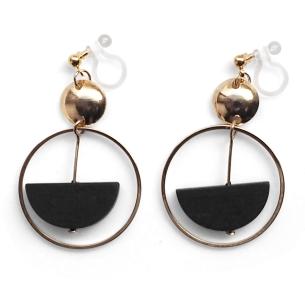 Comfortable pierced look black half circle gold hoop dangle wood Invisible clip on earrings Miyabi Grace 4.jpg