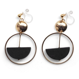 Comfortable pierced look black half circle gold hoop dangle wood Invisible clip on earrings Miyabi Grace 4.jpg