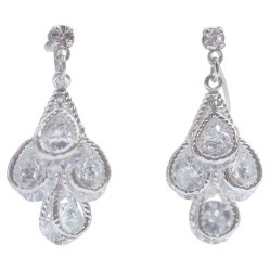 Comfortable and pierced look Bridal wedding silver teardrop dangle cubic zirconia crystal cz invisible clip on earrings MiyabiGrace 夾耳環 ノンホールピアス