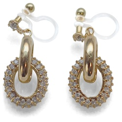"""<img src=""""comfortable-pierced-look-dangle-bridal-gold-ring-cubic-zirconoa-crystal-pave-invisible-clip-on-earrings-miyabigrace2.jpg"""" alt=""""pierced look and comfortable Comfortable and pierced look Bridal wedding gold dangle cubic zirconia crystal pave cz hoop ring invisible clip on earrings MiyabiGrace 夾耳環 ノンホールピアス""""/>"""