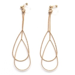 Comfortable and pierced look dangle gold invisible clip on double teardrop hoop minimal earrings 夾耳環 ノンホールピアス MiyabiGrace