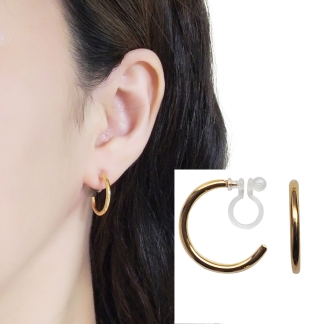 Simple gold invisible clip on hoop earrings