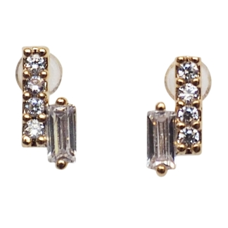 Sparkly minimal cubic zirconia invisible clip on stud earrings