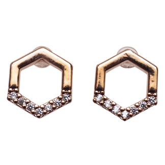 rose gold hexagon cubic zirconia invisible clip on stud earrings