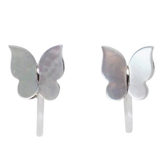 Butterflies mother of pearl invisible clip on stud earrings