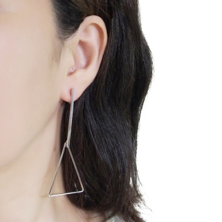 Triangle hoop invisible clip on stud earrings