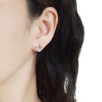 Silver knotted invisible clip on hoop earrings