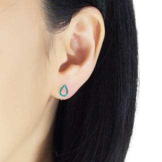 Modern teardrop shape rhinestone invisible clip on stud earrings
