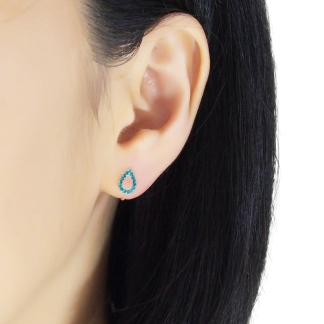 Modern teardrop shape rhinestone invisible clip on stud earrings