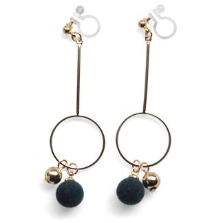 Green velvet ball invisible clip on earrings