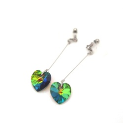 "<img src=""crystal-vitrail-medium-swarovski-heart-invisible-clip-on-earrings-non-pierced-earrings-3.jpg"" alt=""pierced look and comfortable Wedding bridal Dangle Crystal Vitrail Medium Green Swarovski Heart Invisible Clip on Earrings non pierced earrings""/>"