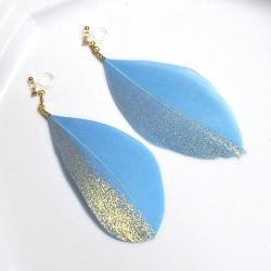 blue and gold goose feather boho invisible clip on earrings non pierced