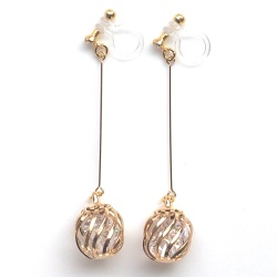 dangle crystals in gold cage invisible clip on earrings