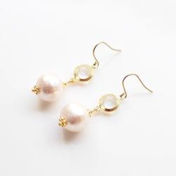 Dangle Clear Crystal & Pink Cotton Pearl Earrings, Titanium Earrings for Sensitive Ears, Wedding Pearl Earrings, Bridal Pearl Earrings