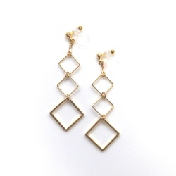 gold tone dangle gradated square invisible clip on earrings