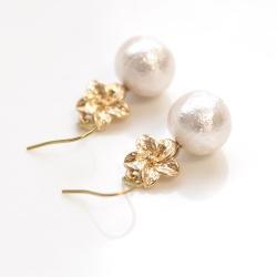 Dangle Gold Hibiscus Flower & White Cotton Pearl Titanium Earrings for Sensitive Ears, Hypoallergenic Earrings, Bridal Pearl Earrings