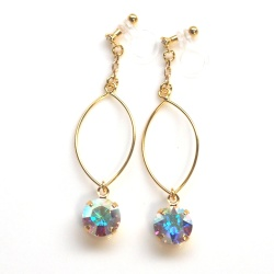 "<img src=""dangle-gold-hoop-and-aurora-borealis-invisible-clip-on-earrings-non-pierced34.jpg"" alt=""pierced look and comfortableDangle Gold Hoop and Aurora Borealis Swarovski Crystal Invisible Clip On Earrings, Non Pierced Earrings, Large Hoop Silver Clip Earrings""/>"