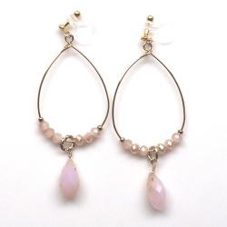 "<img src="" dangle-gold-hoop-pink-crystal-invisible-clip-on-earrings-miyabigrace101.jpg"" alt=""pierced look and comfortable Gold hoop with pink crystal beaded invisible clip on earrings""/>"