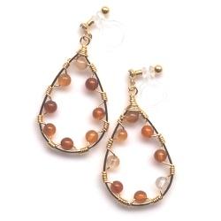 "<img src=""dangle-gold-hoop-wired-wrap-orange-carnelian-gemstone-invisible-clip-on-earrin-1.jpg"" alt=""pierced look and comfortable dangle gold hoop orange carnelian gemstone invisible clip on earrings""/>"