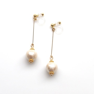 Look Like Pierced Earrings! Dangle Light Beige Cotton Pearl Invisible Clip On Earrings