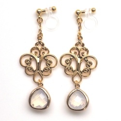 """<img src=""""dangle-gold-motif-filigree-white-opal-teardrop-crystal-invisible-clip-on-earrings11.jpg"""" alt=""""pierced look and comfortable Wedding bridal Dangle Tgold filigree and white opal teardrop crystal invisible clip on earrings non pierced earrings""""/>"""