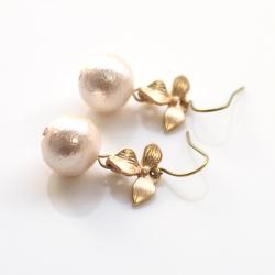 Dangle Gold Orchid Flower and Pink Cotton Pearl Titanium Earrings, Nickel Free Earrings, Bridal Pearl Earrings, Hypoallergenic Earrings
