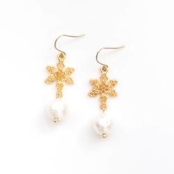 Dangle Gold Snow Crystals & White Cotton Pearl Titanium Earrings for Sensitive Ears, Hypoallergenic Earrings, Nickel Free, Bridal Earrings
