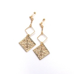 Dangle Gold Filigree Invisible Clip On Earrings