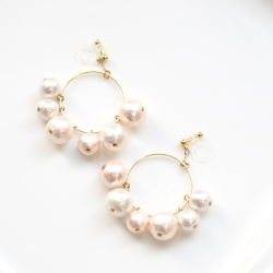Dangle Gold Hoop White & Pink Grapes Cotton Pearl Invisible Clip on Earrings