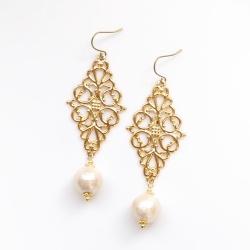 Dangle Large Gold Diamond Filigree & Light Beige Cotton Pearl Titanium Earrings for Sensitive Ears, Hypoallergenic Earrings, Bridal Earrings