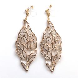 "<img src=""dangle-large-gold-leaf-leaves-invisible-clip-on-earrings-non-pierced5.jpg"" alt=""pierced look and comfortable Large Gold Leaf Invisible Clip On Earrings, Dangle Gold Leaves Clip Earrings, Non Pierced Earrings, Bitanical Comfortable Clip-On Earrings""/>"