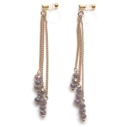 "<img src=""dangle-long-gold-chain-purplish-gray-beaded-invisible-clip-on-earrings-miyabigrace4.jpg"" alt=""pierced look and comfortable dangle light brown beads and gold chains invisible clip on earrings MiyabiGrace""/>"