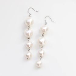 Dangle Gradated Long White Cotton Pearl Titanium Earrings for Sensitive Ears, Bridal Pearl Earrings, Hypoallergenic Earrings for brides