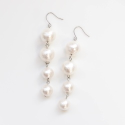 Dangle Gradated Long White Cotton Pearl Titanium Earrings for Sensitive Ears, Bridal Pearl Earrings, Hypoallergenic Earrings for brides