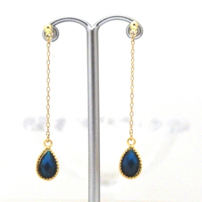 navy blue teardrop invisible clip on earrings