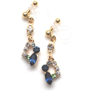 dangle navy blue and green crystal rhinestone invisible clip on earrings non pierced