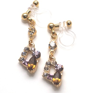 dangle Topaz and purple rhinestone crystal invisible clip on earrings