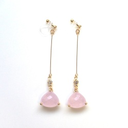 Dangle light pink peach crystal invisible clip on earrings
