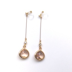 Dangle teardrop light pink peach crystal invisible clip on earrings