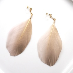 pink and gold goose feather boho invisible clip on earrings non pierced