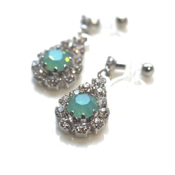 Dangle Teardrop Rhinestone and Mint Green Opal Crystal Invisible Clip On Earrings, Non Pierced Earrings, Bridal Crystal Clip On Earrings