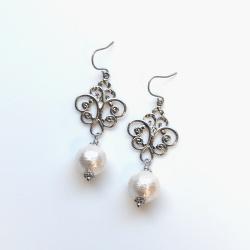 Chandeliers: Dangle Silver tone Rococo style Cotton Pearl Titanium Earrings for Sensitive Ears, Bridal Pearl Earrings, Hypoallergenic