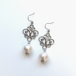 Chandeliers: Dangle Silver tone Rococo style Cotton Pearl Titanium Earrings for Sensitive Ears, Bridal Pearl Earrings, Hypoallergenic