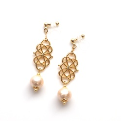 "<img src=""dangle-round-gold-filigree-and-light-orange-invisible-clip-on-earrings-non-pierced-earrings"" alt=""pierced look and comfortable Dangle Round Gold Filigree & Light Orange Cotton Pearl Invisible Clip On Earrings""/>"