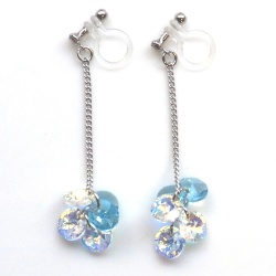 """<img src=""""dangle-round-swarovski-crystal-light-blue-and-aurora-borealis-invisible-clip-on-earrings5.jpg"""" alt=""""pierced look and comfortable pierced look and comfortable dangle light blue aquamarine aurora borealis swarovski crystal invisible clip on earrings 耳環夾""""/>"""
