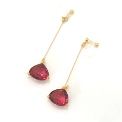 Pierced Look! Dangle Ruby Red Triangle shape Glass Invisible Clip On Earrings, Bridal Clip Earrings, Wedding Non Pierced Earrings,
