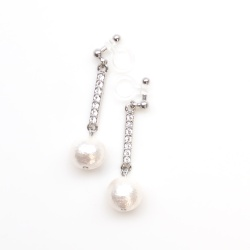 """<img src=""""dangle-silver-crystal-and-white-cotton-pearl-invisible-clip-on-earrings-non-pierced-earrings"""" alt=""""pierced look and comfortable Wedding bridal Rhinestone Crystal & White Cotton Pearl Invisible Clip on Earrings non pierced earrings""""/>"""