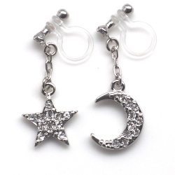 "<img src=""dangle-silver-cystal-pave-rhinestone-moon-and-star-invisible-clip-on-earrings6.jpg"" alt=""pierced look and comfortable dangle silver star and moon crystal pave rhinestone invisible clip on earrings""/>"